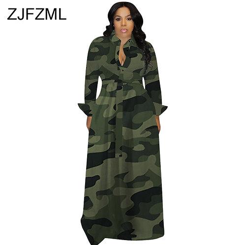 Camouflage Long Dress Long Sleeve Slim  Turn-Down Collar Button Up Shirt Dress
