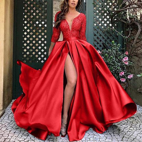 Vintage Sleeve Lace Patchwork Satin Split  Dresses UP TO Size 5XL
