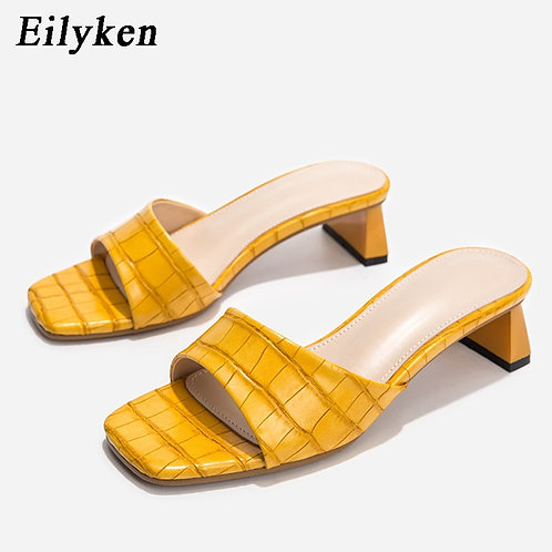 Square Toe Soft Slippers Snake Print Leather Sandals Low Heels