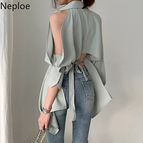 Hollow Out Turn Down Collar  Off Shoulder Spring Summer 2021 Solid Tops 1A822
