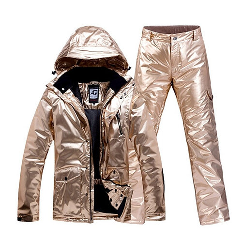 Gold Ski Suit Men Women Snowsuit Couple Waterproof Warm Snowboarding Ski  Set