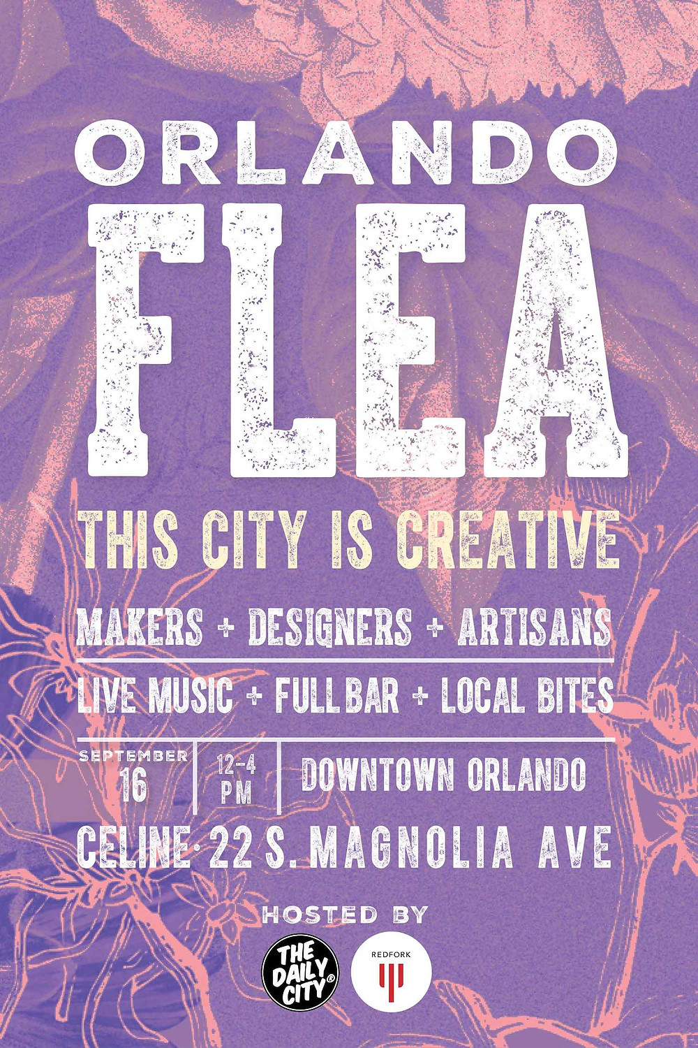 The Daily City is putting on the Orlando Flea September 16, 2018 12pm-4pm in downtown Orlando! For information go to orlandoflea.com!