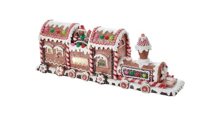 Make this Kurt Adler light-up gingerbread train Christmas table decor your new centerpiece for the holiday season.