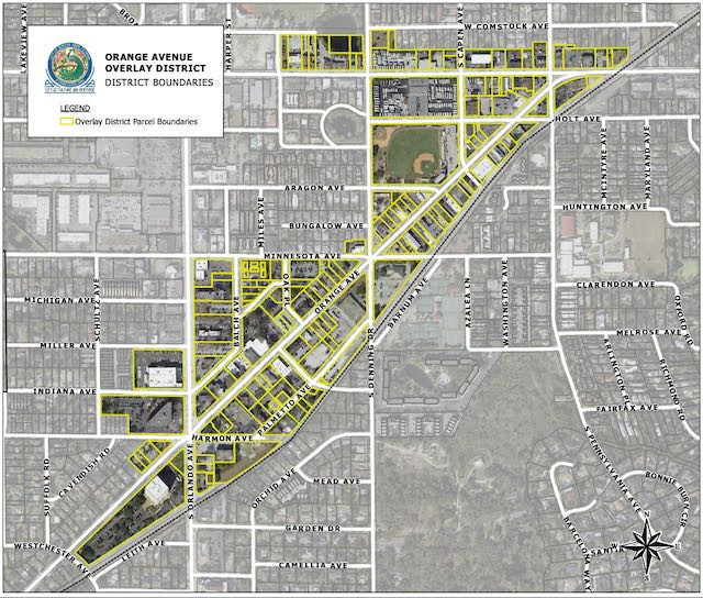 Map of the Orange Avenue Overlay District in WInter Park