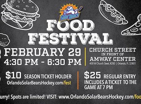 Orlando Solar Bears Food Festival - Saturday February 29