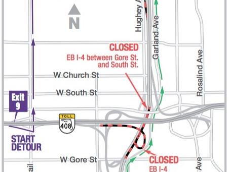 Eastbound I-4 Through Downtown Orlando Closing Overnight on Oct. 31