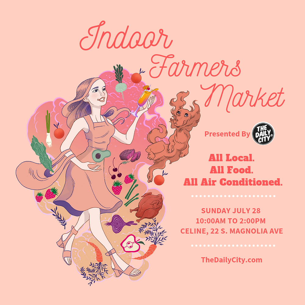 Indoor Farmers Market returns to Downtown Orlando Sunday July 28th 10am-2pm at Celine, 22 S. Magnolia Ave.
