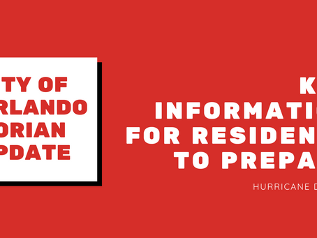 City of Orlando Hurricane Dorian – Update #3 - Key Information for Residents to Prepare