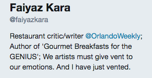 Faiyaz Kara, Food Critic for the Orlando Weekly