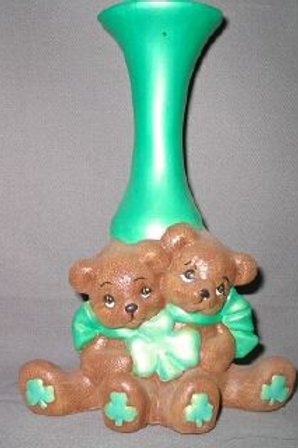 Irish cuddle bear bud vase