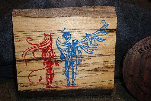 Devil Angel On Spalted Wood
