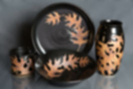 "Red Oak Pottery ""Black Leaves"""