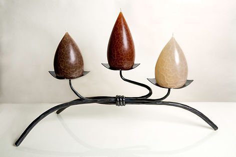Tri - Low Iron Candle Holder with Barrick Candles