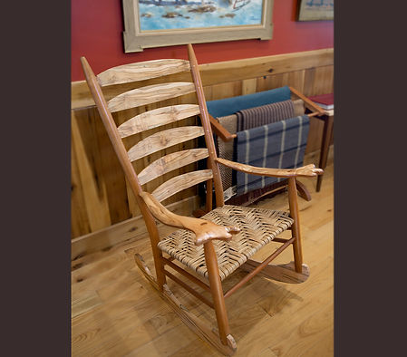"Ambrosia Maple and Cherry ""Mule Ear"" Rocking Chair with Hand Woven Hickory Bark Seat"