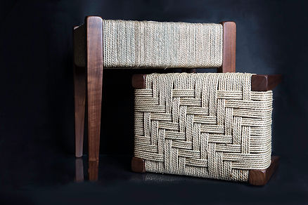 Walnut Stools with Woven Seagrass