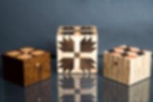Quilt Boxes:  Lg & Sm (dark) - Bear Paws; Sm (light) - Tumbling Blocks
