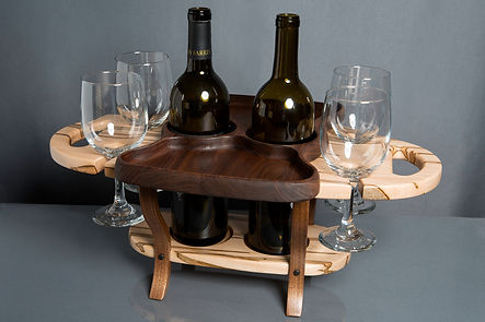 Ambrosia Maple Wine Caddy with Appetizer Tray