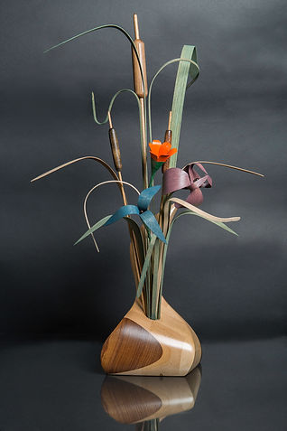 Loon with Wooden Flowers Signed and Titled