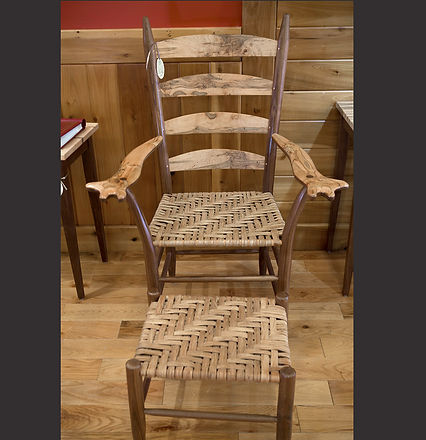 "Ambrosia Maple and Walnut ""Mule Ear Chair with Hand Woven Hickory Bark Seat"