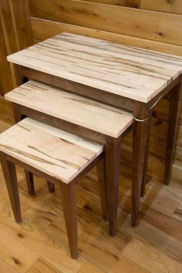 Ambrosia Maple and Walnut Nesting Tables