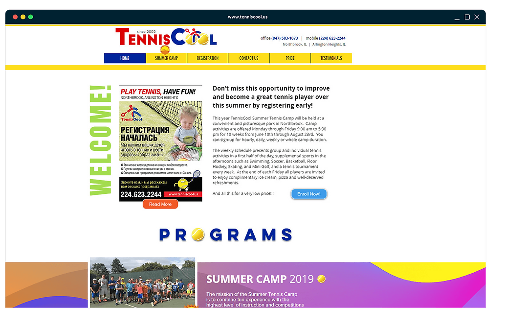 Tennis academy website