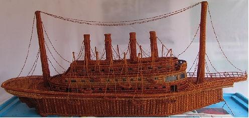 artesanias en cobre - Replica del TITANIC en alambre de cobre esmaltado