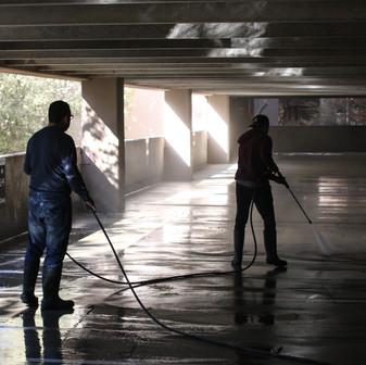 Dirty garage blasted clean