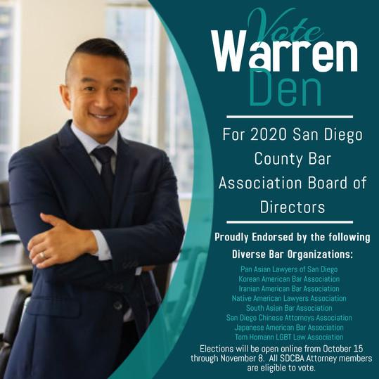 2020 SD County Bar Association Board of Directors Candidate: Warren Den