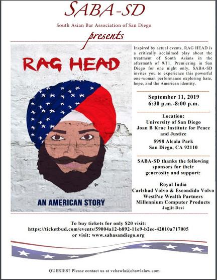 "SABA San Diego Presents ""Rag Head: An American Story"""