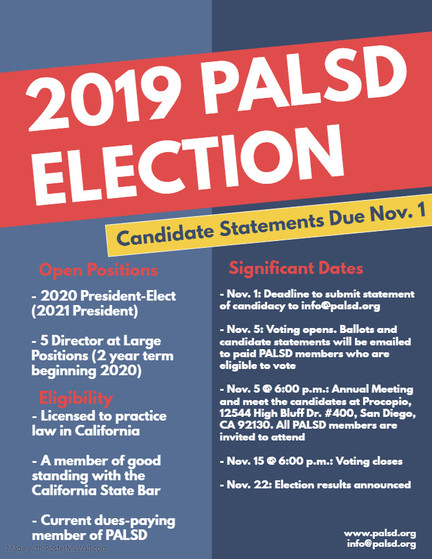 2019 PALSD Election - Candidate Statements Due Nov. 1