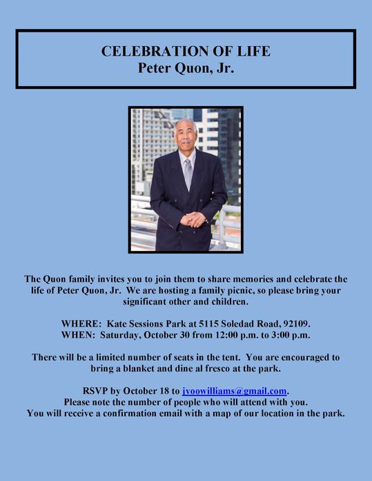 Celebration of Life, Peter Quon, Jr.