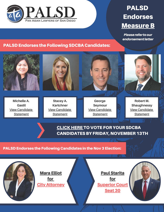 SDCBA Board: PALSD Endorsed Candidates