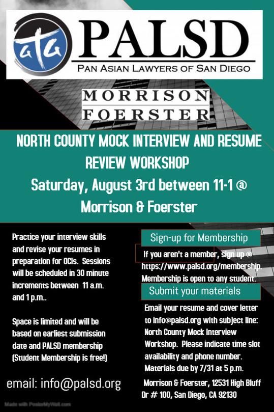 PALSD & Morrison Foerster Present North County Mock Interview & Resume Review Workshop