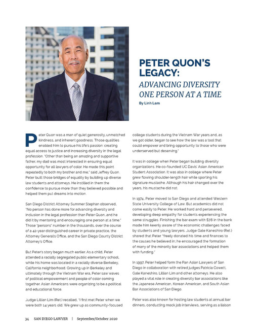 Peter Quon's Legacy