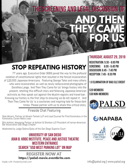 """""""And Then They Came For Us"""" Screening & Legal Discussion"""