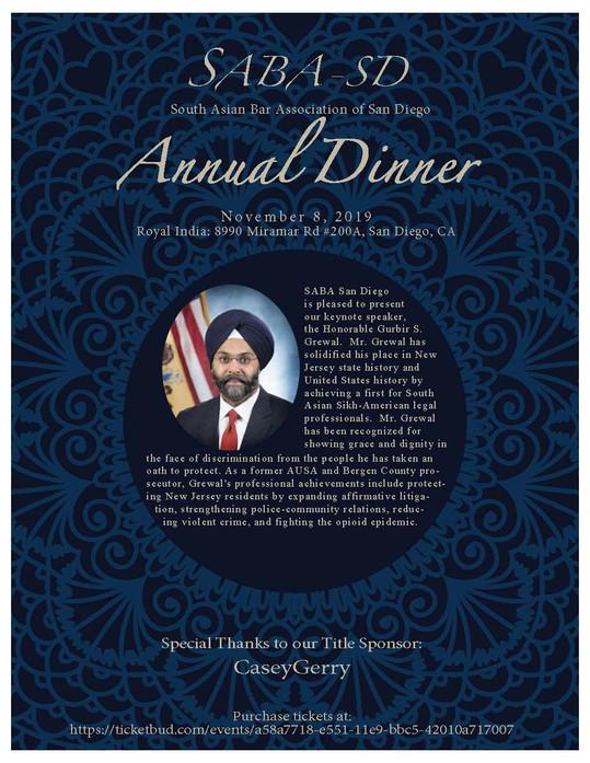 SABA San Diego Annual Dinner - November 8