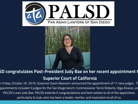PALSD Past-President Judy Bae Appointed to Superior Court of CA