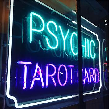 psychic, tarot reading, neon sign