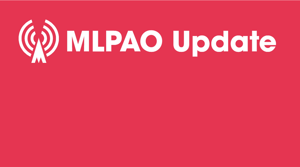 """An all-red graphic with a radio tower that reads """"MLPAO Update"""" in white."""