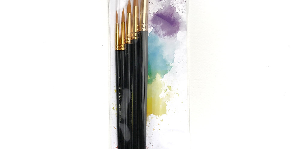 Tokyo Finds Professional Zen Brush Set of 5 for Acrylic Watercolor or Oil
