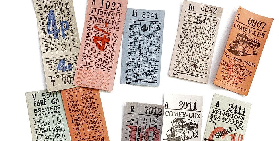 10pcs. Authentic Vintage UK Bus Tickets