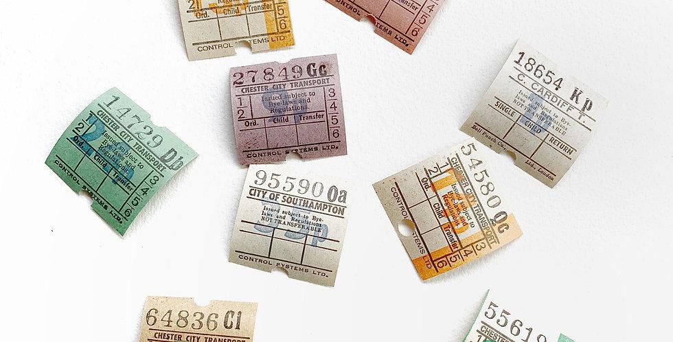 20pcs. Authentic Vintage UK Bus Ticket Small