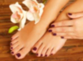 Closeup photo of a female feet at spa sa