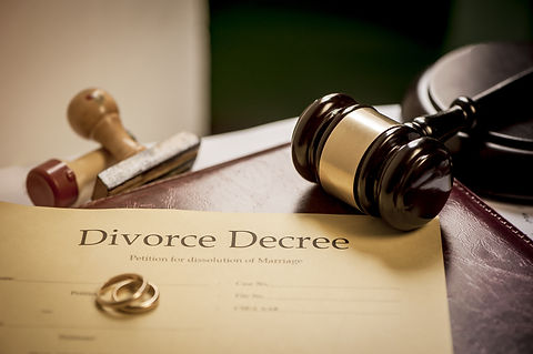 Divorce decree and wooden gavel .jpg