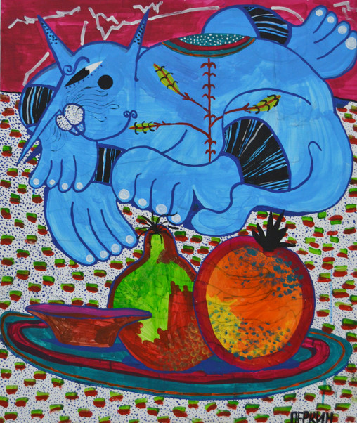 Cat revolving on a tablecloth in citrus and jelly