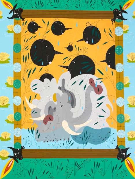 Elephantine dogs in wolf berries