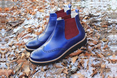 Челси броги синие кожаные