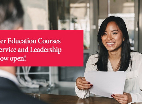 Intakes are now open for our Service and Leadership courses