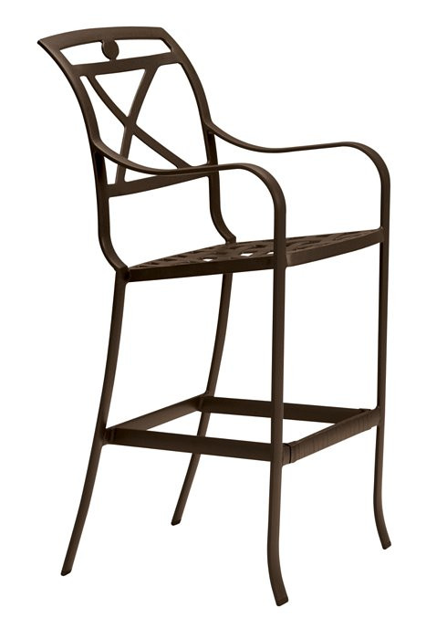palladian cast aluminum barstool x back outdoor commercial