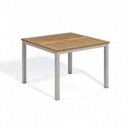 "Travira 39"" Table - Powder Coated Aluminum, Natural Tekwood Top"